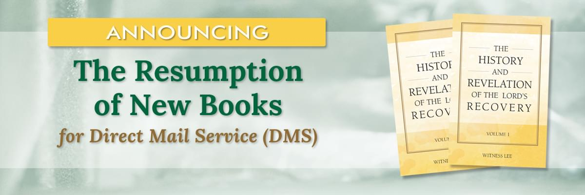 The Resumption of DMS New Books